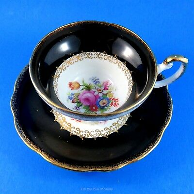 Pretty Black Border with Floral Center Foley Tea Cup and Saucer Set