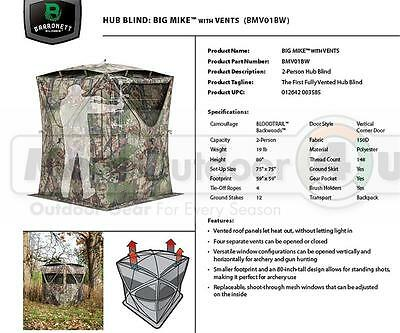 2 Man NEW BIG MIKE Barronett Blinds Vented Hub Blind 80x75x75