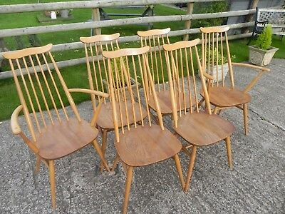 Set of Six Vintage Ercol Goldsmith Chairs in Light Elm - Including Two Carvers