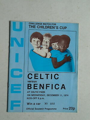 Celtic v Benfica 1974 Unicef Match
