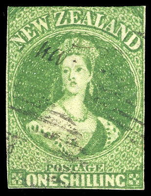 New Zealand 1862 QV 1s yellow-green used cat £350 ($472). SG 45. Sc 15.