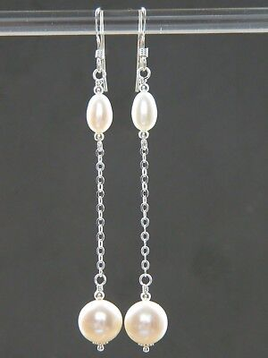 Ivory White Freshwater A-Grade Round & Oval Pearls & Sterling Silver Earrings