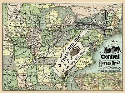 1870s NY Central and Hudson River RR Map - 18x24