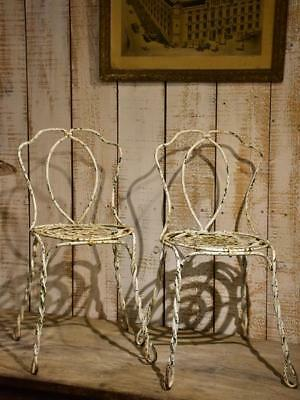 Pair of antique French garden chairs - white wrought iron