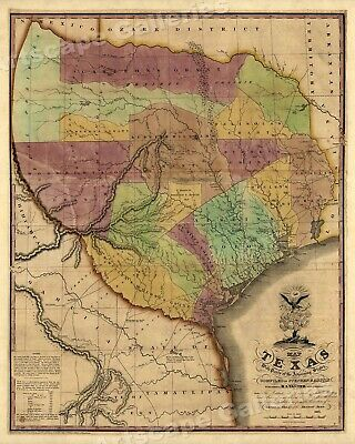Historic 1837 Map of Republic of Texas Land Grants by Stephen F Austin - 20x24