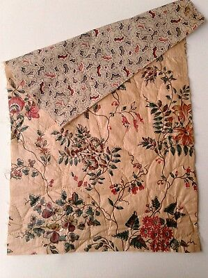 Antique French c1830-40 Quilted Chintz Cotton Picotage Fabric Fragment Boutis