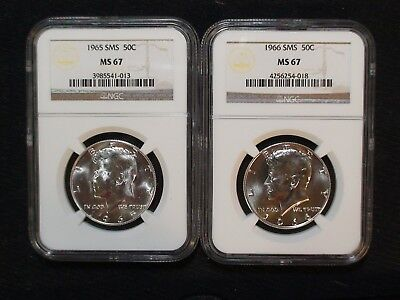 1965 & 1966 SMS Kennedy Silver Half Dollars NGC MS67 50C Coin Starts At 99 Cents