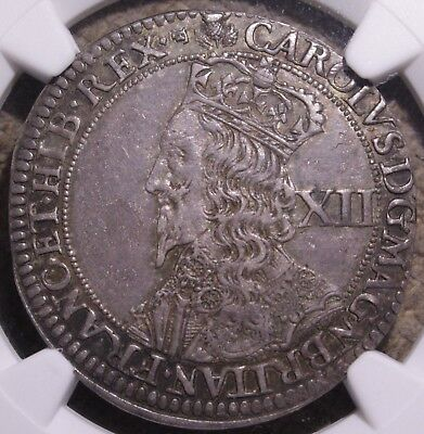 1637-1642 Charles I Scotland Silver Falconer's 12 Shillings Coin NGC AU50