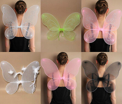 Large Net Fairy Wings with Glitter Fancy Dress Costume Dressing Up Adult Kids