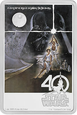 1 Oz Silber Proof 40 Jahre Star Wars 40th Anniversary 2017 Niue Silver 1977
