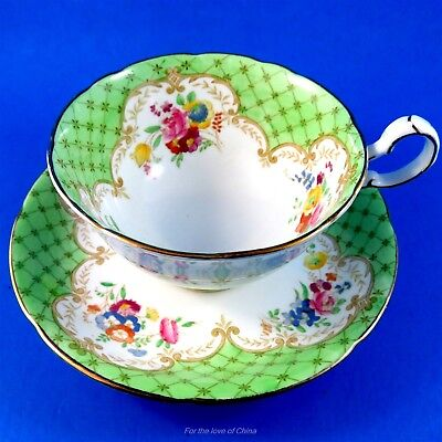 Pretty Green Edge with Florals Royal Grafton Tea Cup and Saucer Set