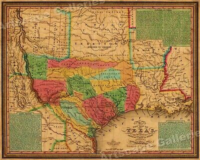 1830s Texas & Indian Territory Land Grants Historic Wall Map - 24x30