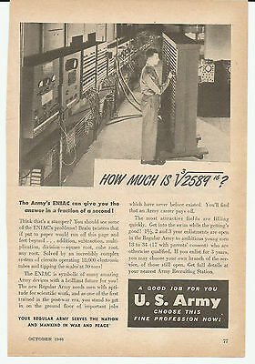 Vintage, Original, 1946 - U.S. Army Advertisement - Army Recruiting, Enlistment