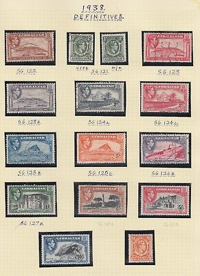 Gibraltar 1938-51 set of 14 + 1   SG121-131  Mixed Mounted Mint and Used