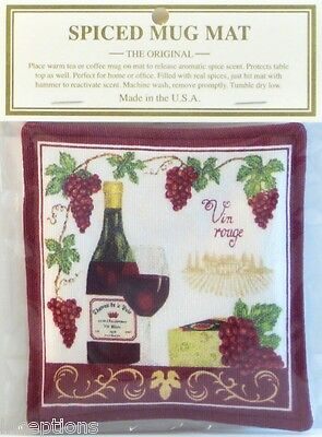 Alice's Cottage Cotton Scented Spiced Mug Mat Coaster Vineyard Wine Cheese - NEW