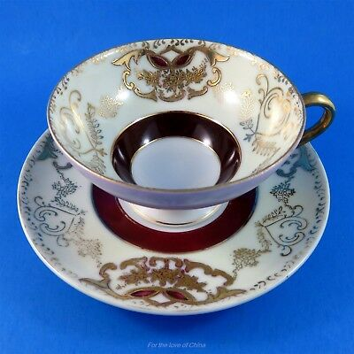 Raised Gold and Deep Red Ring Shafford Tea Cup and Saucer Set