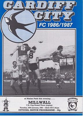 CARDIFF CITY v MILLWALL ~ FA CUP 3RD ROUND REPLAY ~ 20 JANUARY 1987