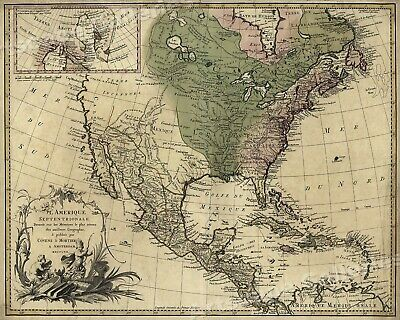 16x20 North /& South America Exploration Map Art Print 1562 New World