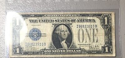1928-B One Dollar Bill $1 Silver Certificate Funny Back Blue Seal Collector Note