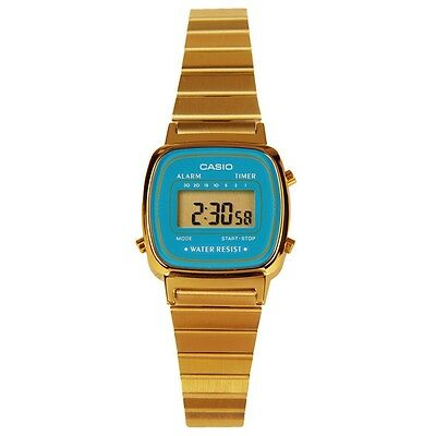 Casio LA670WGA-2 Ladies Gold Tone Stainless Steel Digital Retro Watch BLUE Dial