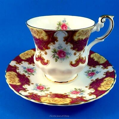 Deep Red Edge with Roses and Forget Me Nots Rosina Tea Cup and Saucer Set