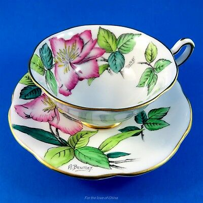 Hand Painted A Bentley Wild Rose Rosina Tea Cup and Saucer Set