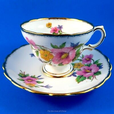 Pretty Pink Hibiscus Bouquet Rosina Tea Cup and Saucer Set