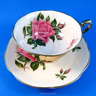 Stunning Gold Exterior English Roses Rosina Tea Cup and Saucer Set