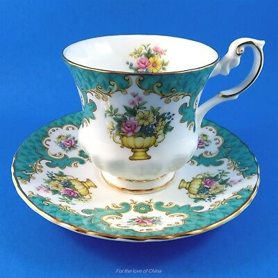 Aqua Blue Edge with an Urn of Flowers Rosina Tea Cup and Saucer Set