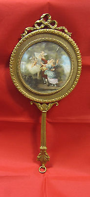 FRENCH ORMOLU HAND MIRROR with Angels & Lovers Handpainted Original Rococo
