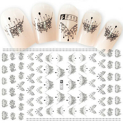 Nail Art Water Decals Sticker Transfer Bow Necklace Jewellery Lace Gel Polish ES