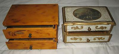 Lot Of 2 Vintage Gold Tone Jewelry Music Box Made In Japan & Wood Trinket Box
