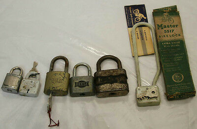 Vintage Lot Of Assorted Locks And Master Bike Lock No. 5517