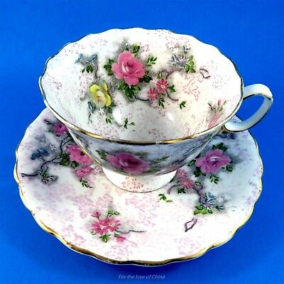 Pretty Floral Bouquet Scenic Atlas China Tea Cup and Saucer Set