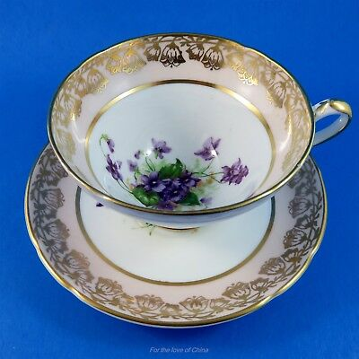 Peach Border with Purple Violets Stanley Tea Cup and Saucer Set