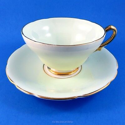 Pale Green and Yellow Stanley Tea Cup and Saucer Set