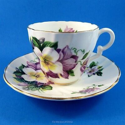 Pretty Purple Floral Stanley Tea Cup and Saucer Set