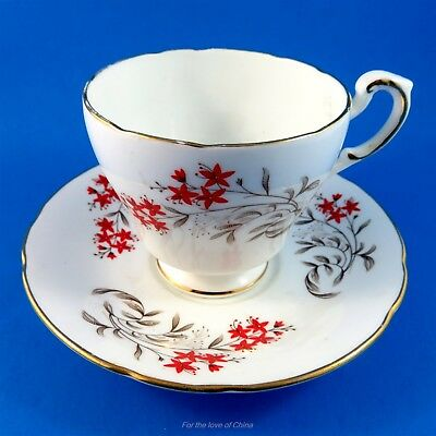 Pretty Red Floral Roslyn Tea Cup and Saucer Set