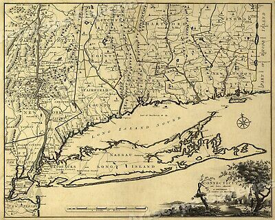 1770s Early Map of Connecticut, New Jersey, New York & Long Island - 16x20