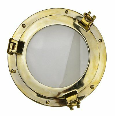 "12"" Solid Brass Heavy Porthole Window with 2"" Deep Flange Inner Inside Doors"
