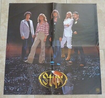 "Styx Band Members Fold Out LP Poster 24"" x 24"" Grand Illusion"