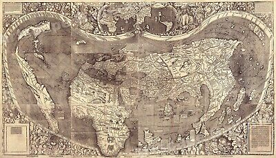 "1507 Historic Map by Waldseemuller - First Map to Name ""America"" - 14x24"