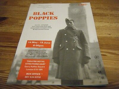 1990s - THEATRE  PROGRAMME  - BLACK POPPIES - ARMED FORCES STORIES - STRATFORD