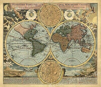 1700s Old World Hemispherical Exploration Map Poster - 20x24