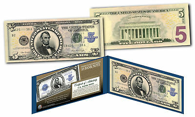 1923 Abraham Lincoln Porthole $5 Silver Certificate Banknote on Modern $5 Bill