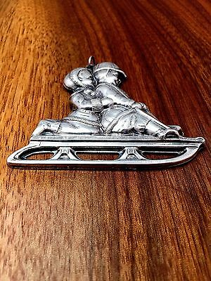 Gorham Co. Silverplate Christmas Ornament of Two Children on a Sledge