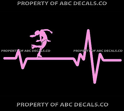 VRS Heart Beat Line ICE FIGURE SKATING Skates Girl Spin Ponytail CAR VINYL DECAL