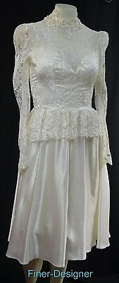 House of Bianchi Ivory Wedding Ball gown lace bridal Victorian dress 8 S M VTG