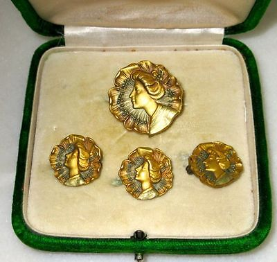 Antique Authentic French Art Nouveau Set of Brooches, ca 1890-1900