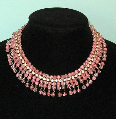 Authentic Art Deco French CHOKER Pink Crystal Tassel Necklace